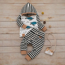 newborn baby toddler sets casual outfit clothes o neck long sleeved tops pants hats 3pcs set baby clothes for boys and girls Toddler Baby Boys Girls Clothing Sets Long Sleeve Hoodie Tops Sweatsuit Stripe Pants Outfit Set Newborn Infant Clothes
