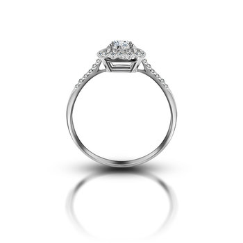 18K Gold And White Gold Platinum Cube Engagement Ring 1