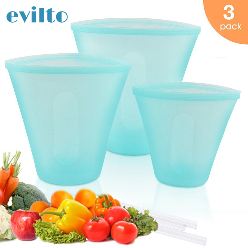 3pcs/set Silicone Silicone Fresh-keeping Bag Leakproof Containers Reusable Fridge Food Storage Bag Kitchen Stand Up Ziplock Bag