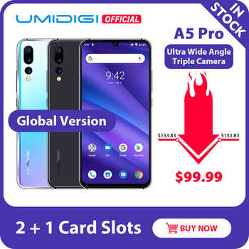 UMIDIGI A5 PRO Android 9.0 küresel bantları 16MP üçlü kamera Octa çekirdek 6.3 ''FHD + Waterdrop ekran 4150mAh 4GB + 32GB cep telefonu