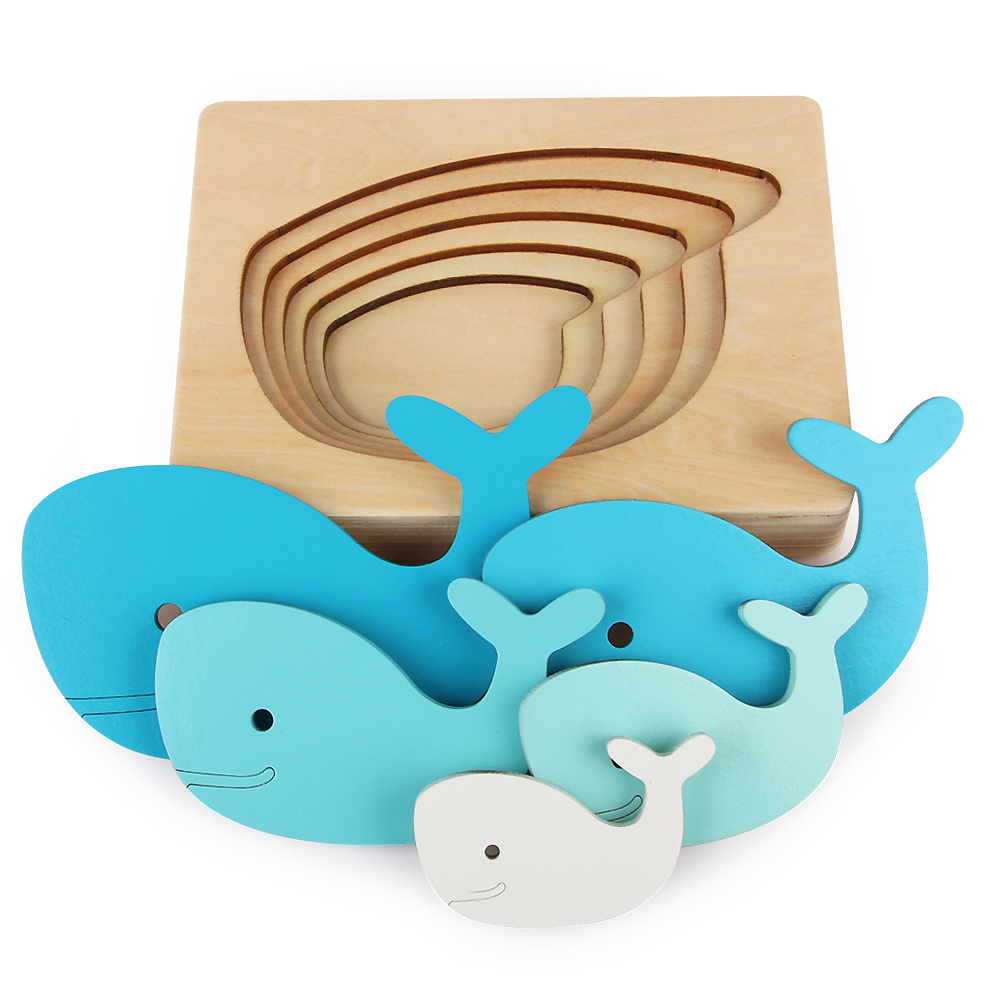Puzzle Kids Wooden Toys For Children Animal Carton 3D Puzzle Multilayer Jigsaw Puzzles Baby Toys Child Early Educational Aids