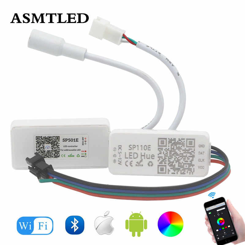DC5-12V SP110E kontroler Bluetooth dla adresowalnych pikseli taśmy Led DC5-24V SP501E WIFI RGB kontroler dla WS2811 WS2812B SK6812