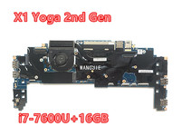 100% working Laptop Lenovo ThinkPad X1 Yoga 2nd Gen I7-7600U 16GB Motherboard FRU 01AX856 01LV173 5B20V13746 1