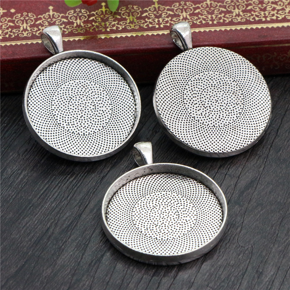 5pcs 30mm Inner Size Antique Silver Plated Classic Style Cabochon Base Setting Charms Pendant (B7-25)