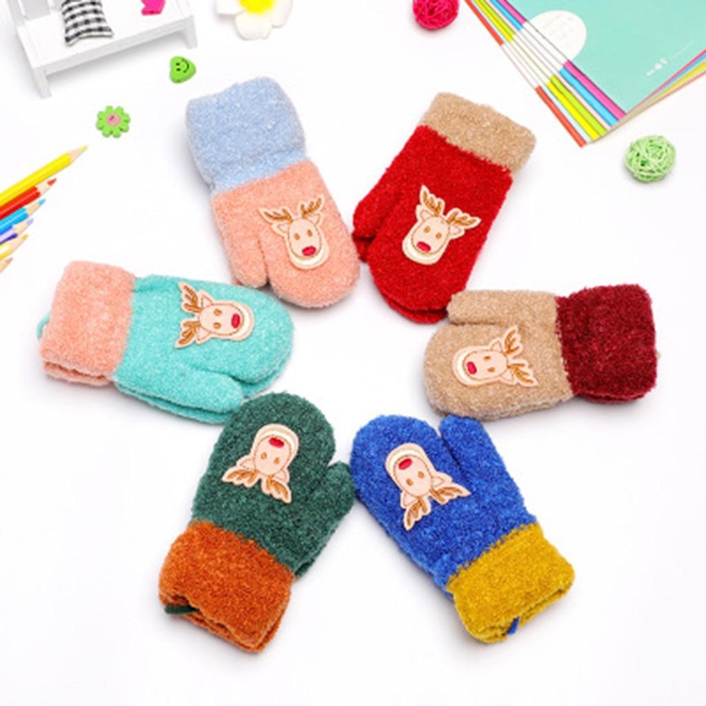 Winter Touch Screen Gloves  Children Kids Christmas Warm Knitted Gloves Deer Printed Full Finger Gloves перчатки женские Gloves