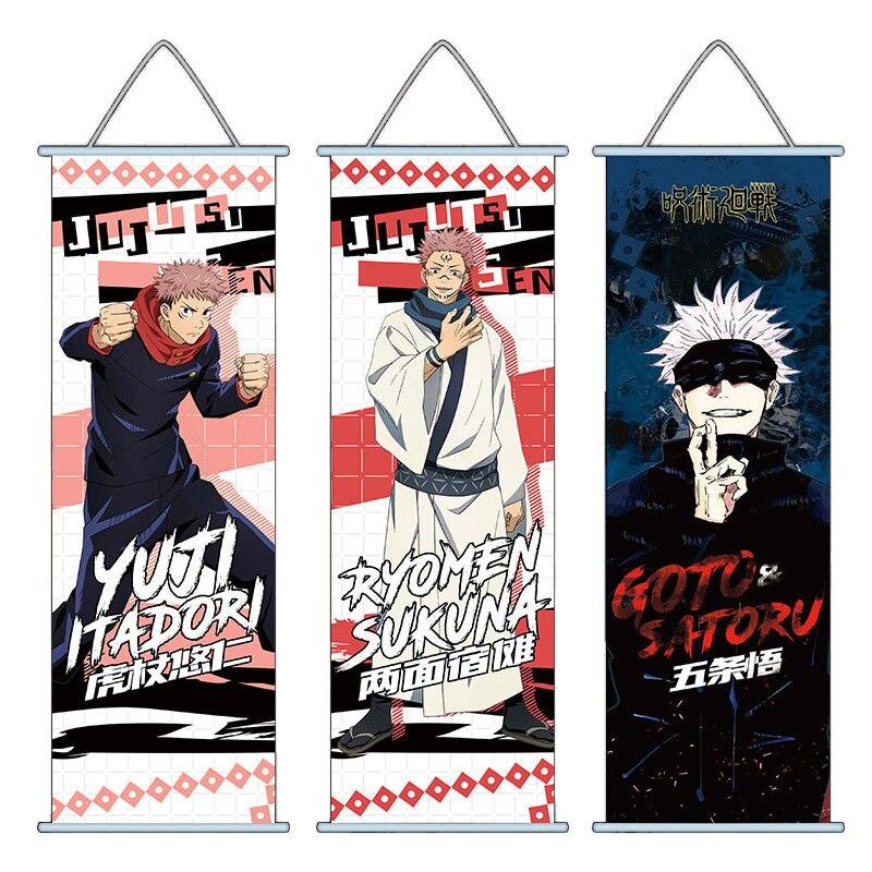Anime Jujutsu Kaisen Hanging Painting Yuji Itadori Gojo Satoru Wall Poster Home Decoration