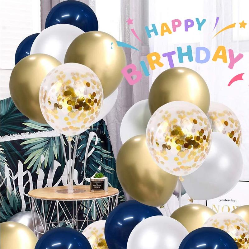 50pcs Celebrate Festival Baby Shower Wedding Birthday Party Decoration Globo Navy Blue Metallic Gold Confetti Balloons 12 Inch