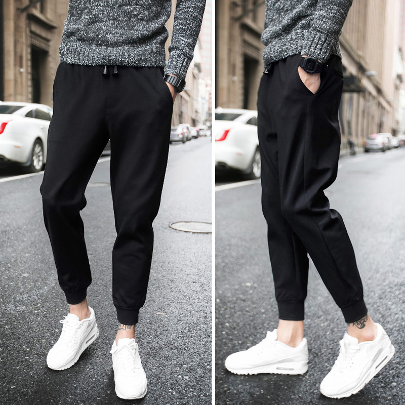 2019 Korean-style Casual Capri Pants Sub-Autumn Hong Kong Style Trend Versatile Skinny Pants Students Beam Leg Sports Sweatpants