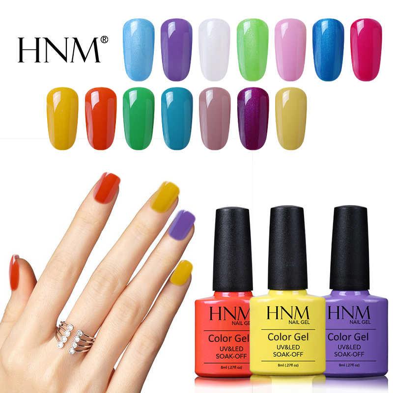 HNM 8ml สี UV เจลเล็บเจลกึ่งถาวร LED โคมไฟ Top Coat BASE Coat Vernis ปั๊มสี Gellak เคลือบ Lucky Lacquer