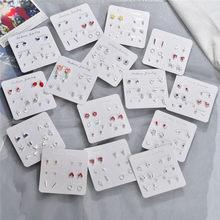 Modyle Women Heart Star Mini Earrings Set Fashion Girl Small Jewelry Square Leaf Pearl Stud Earring Sets Lady Jewelry
