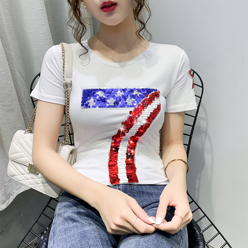 Summer Fashion Korean Clothes T-shirt Sexy Shiny Beading Letter Women Tops Ropa Mujer Cotton Short Shirt Tees 2020 New T03402