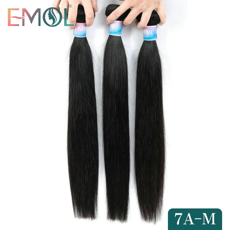 Emol Indian Hair Bundles Non-Remy Straight Human Hair Weave Bundles Hair Extensions Wholesale Lots Bulk 7A Medium Ratio