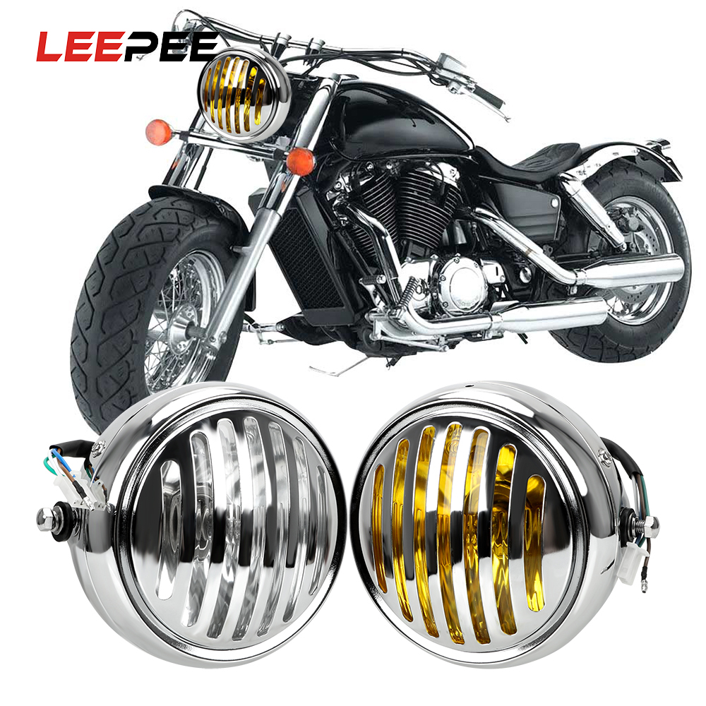 LEEPEE Universal Front Light Round Lamp DC 12V Motorbike Retro Headlights Car Styling Motorcycle Grill Headlight