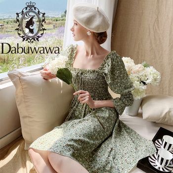 Dabuwawa Vintage Print Dress Women Square Neck Bow Front Lantern Sleeve Prairie Chic Fit and Flare Female DT1CDR003