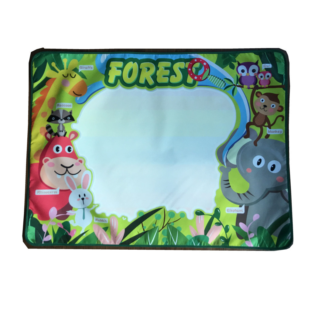 Children'S Educational Toy Large Size Enchanted Forest Animal Water Canvas Doing Homework Blanket Graffiti 103 X 77cm About 215
