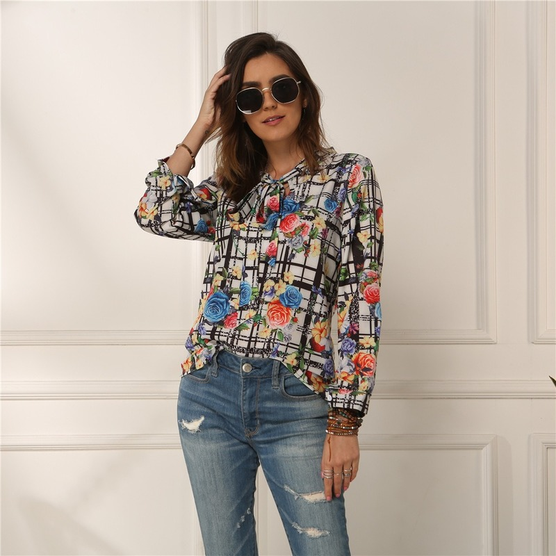Floral Printing Women Blouses Long Sleeve Shirt Women Lace Up Shirts Casual Office Ladies Spring Summer Tops Blouse 2020