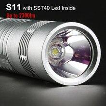Prata lanterna comboio s11 com sst40 led dentro 2300lm tático flash luz da tocha 26650 lanterna acampamento caça trabalho luz