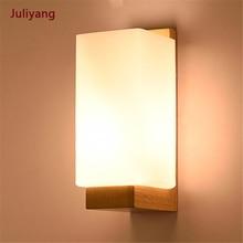 Bedroom light LED simple modern wall lamp Nordic solid wood indoor lighting aisle balcony living room hotel light fixtures