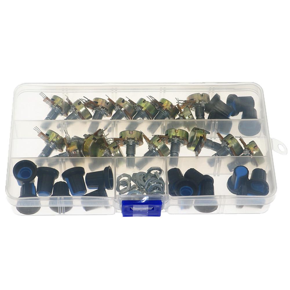 18 pçs/caixa wh148 único potenciômetro kit b1k/5k/10k/20k/50k/100k/500k/1m com botões único potenciômetro conjunto porcas do eixo