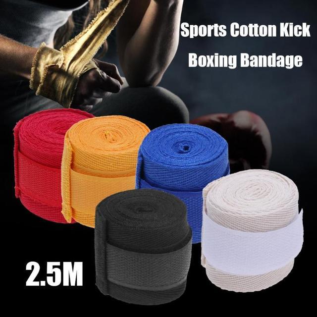 2 шт., спортивный хлопковый ремешок 2,5 м, боксерский бандаж, наручные перчатки для тхэквондо, ММА