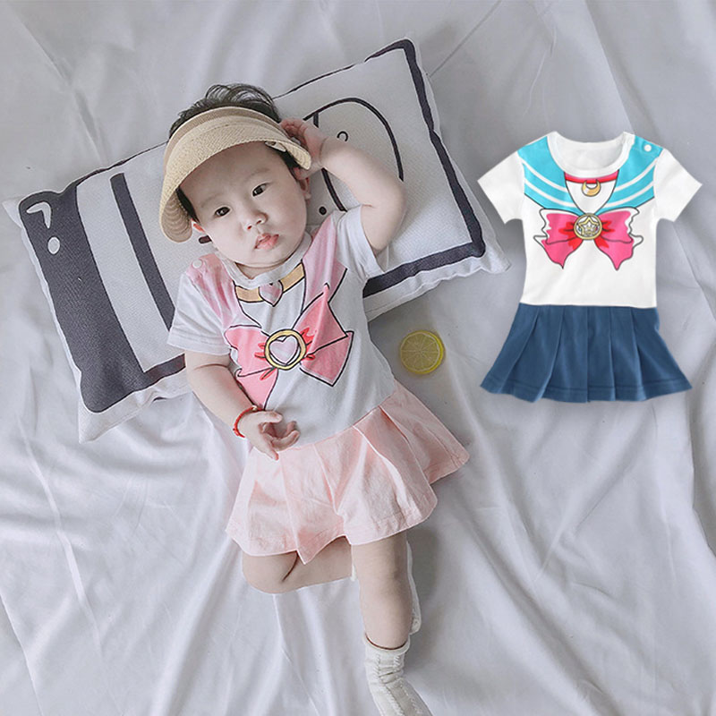 1-18M Baby Dress Rompers Casual Newborn Sailor Moon Style Clothing Baby Girl Bowknot Jumpsuits Summer Short-Sleeve
