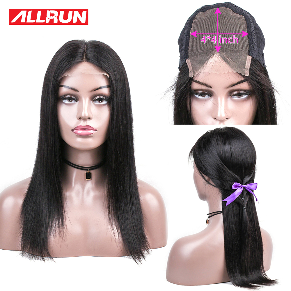 Allrun 4x4 Lace Closure Wig Human Hair Wigs Brazilian Straight Lace Wigs Per-Plucked With Baby Hair Natural Hairline Remy