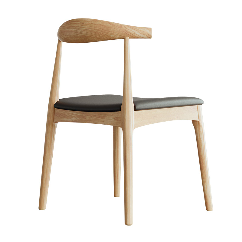 Dining Chair Back Adult Nordic Wood  Solid  Home Modern Minimalist Cafe Restaurant Stool Table  Horn