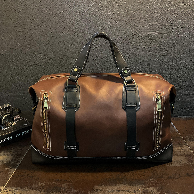 New Vintage Men's Carry-on Bag Leather High-capacity Boarding Bag Business Trip Short-haul Luggage