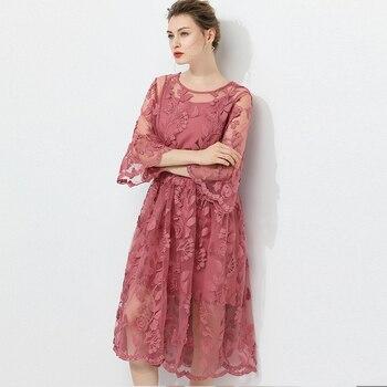 Vestidos de talla grande para mujer, vestidos holgados a la moda de cintura alta con encaje bordado, vestido elegante de dos piezas con cuello redondo y mangas acampanadas, vestido de lujo