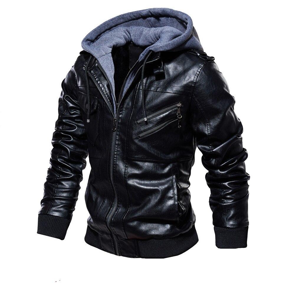 H63d738d0d1ad45559bd279f9393ca5e9K Mens PU Jackets Outwear Leather Hooded Biker Coat Men 2019 Cool Motorcycle Jacket Male Winter Autumn Jaquetas De Motocicleta 4XL