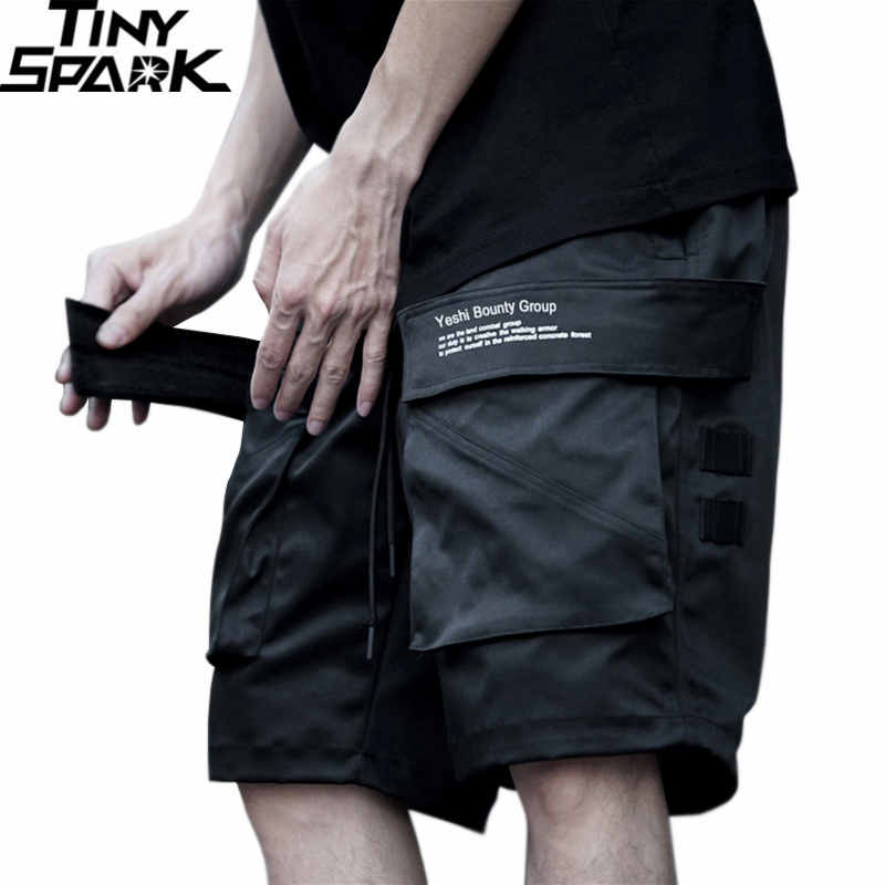 Men Hip Hop Cargo Shorts Streetwear 2020 Harajuku Joggers Short Side Pocket Summer Black Casual Track Shorts Hipster Street Wear