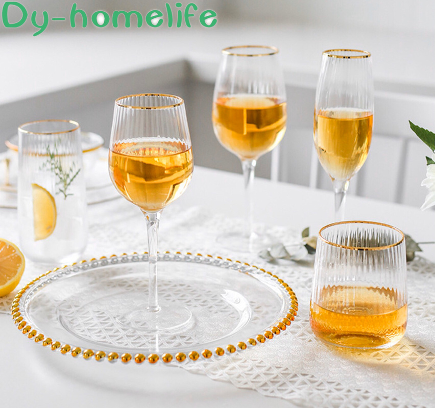 Multi-style Nordic Phnom Penh Vertical Pattern Lead-free Glass Goblet Restaurant Household Wine Champagne Vodka Cocktail Glass image