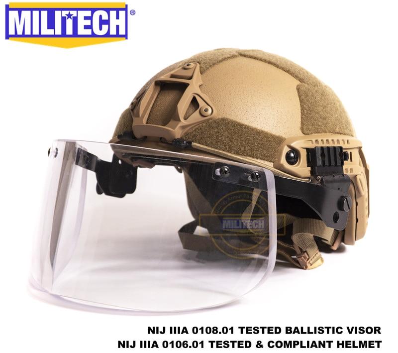 MILITECH Coyote Brown CB Deluxe NIJ IIIA 3A FAST Bulletproof Helmet And Visor Set Deal Ballistic Helmet Bullet Proof Mask Pack