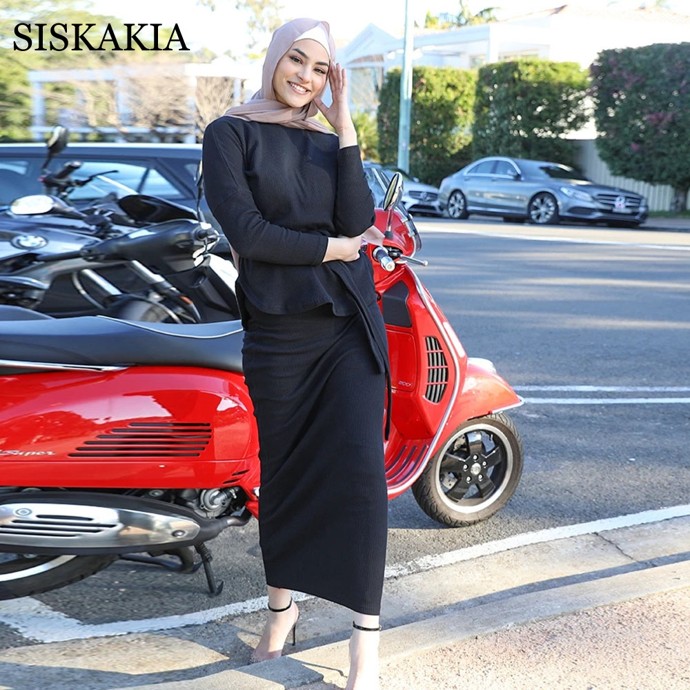 Siskakia Knitted Casual Two-Piece Sweater Set for Women Autumn Winter 2021 Stand Collar Long Sleeve Pullover Tops + Pencil Skirt