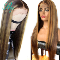 Invisible Highlight Ombre Color Straight Lace Front Human Hair Wigs For Women Brazilian Remy Hair Closure Preplucked Lace Wig