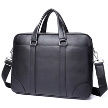 Mens Briefcase Bag Men Genuine Leather 14 15.6 inch Computer Business Tote For Document Office Portable Laptop Shoulder