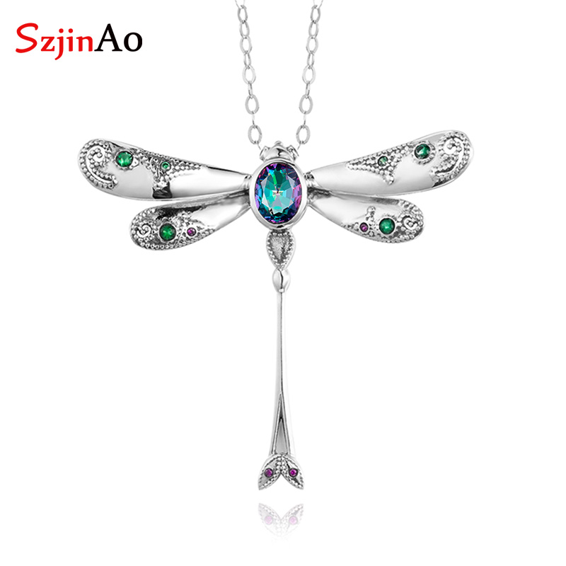Szjinao Rainbow Mystic Topaz Pendant Real 925 Sterling Silver Gemstone Cross Pendants For Women Dragonfly Fashion Jewelry Unique