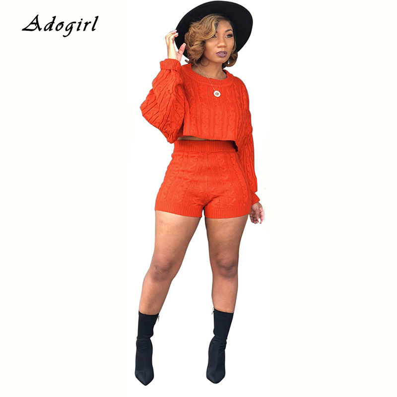 Autum Winter Sweater Women's Tracksuit Casual Crop Top With Shorts Two Piece Set Fashion Sexy Evening Club Slim Women Sets