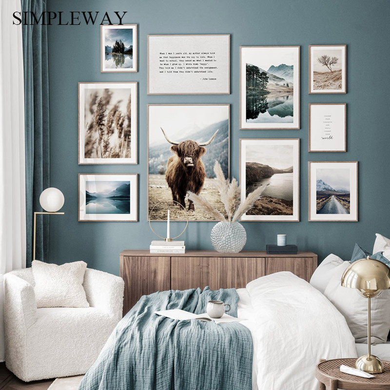 Nature Lake Landscape Canvas Print Scandinavian Poster Nordic Style Animal Cow Wall Art Painting Picture Modern Home Decoration
