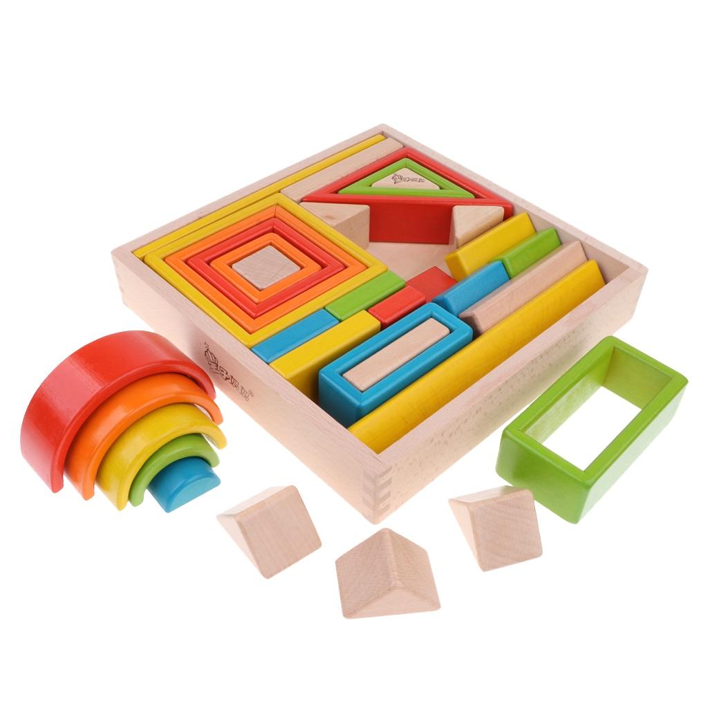 32 pièces enfants en bois arc en ciel blocs empilables jouets éducatifs Montessori - 4