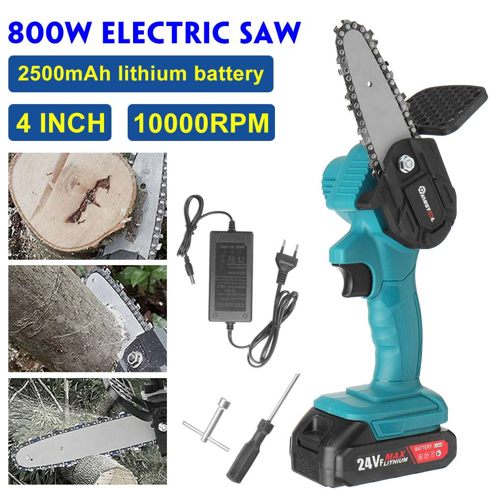 4 inch Mini Cordless Electric Chain Saw 24V Lithium Battery Charger Portable Rechargeable Garden Logging Saw  Woodworking Tools
