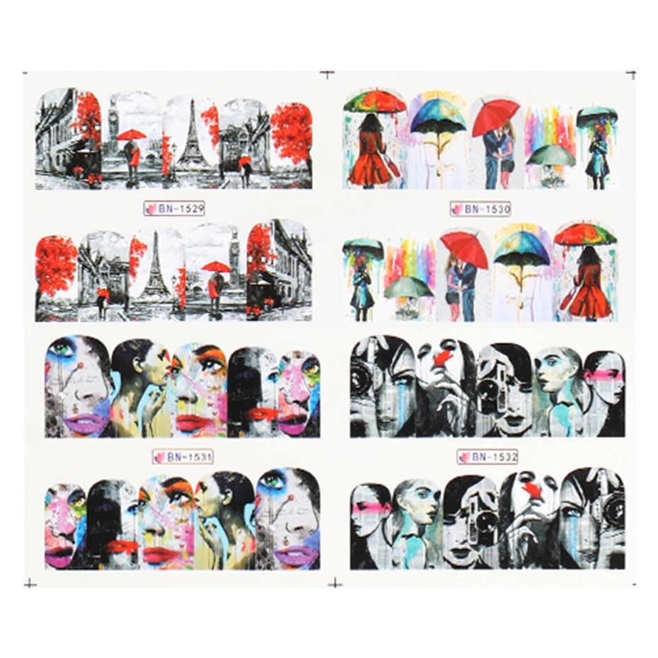 12 قطعة مثير الشفاه فتاة لاصق للأظافر برج ايفل نقل المياه المنزلق الأحبة لتقوم بها بنفسك مسمار الفن الديكور ملصق مائي CHBN1525-1536