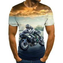 2021 new cool racing graphics-men's motorcycle 3D printed T-shirt, stylish and handsome short-sleeved T-shirt