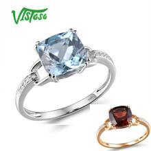 Кольцо VISTOSO Pure14K 585 из белого золота/розового золота для женщин, сверкающие бриллианты, Limpid небесно-голубой топаз, юбилей, классические ювелирные украшения