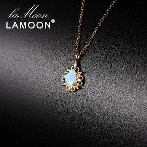 Ламон серебро 925 пробы Oct камень по рождению опал 14K желтое золото позолоченное Pandent ожерелье ювелирные украшения для женщин подарок для мамы...