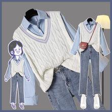 3 peça plus size 2xl sólido camisas coletes doce tornozelo comprimento jeans senhora do escritório das mulheres diário casual na moda chique feminino define elegante