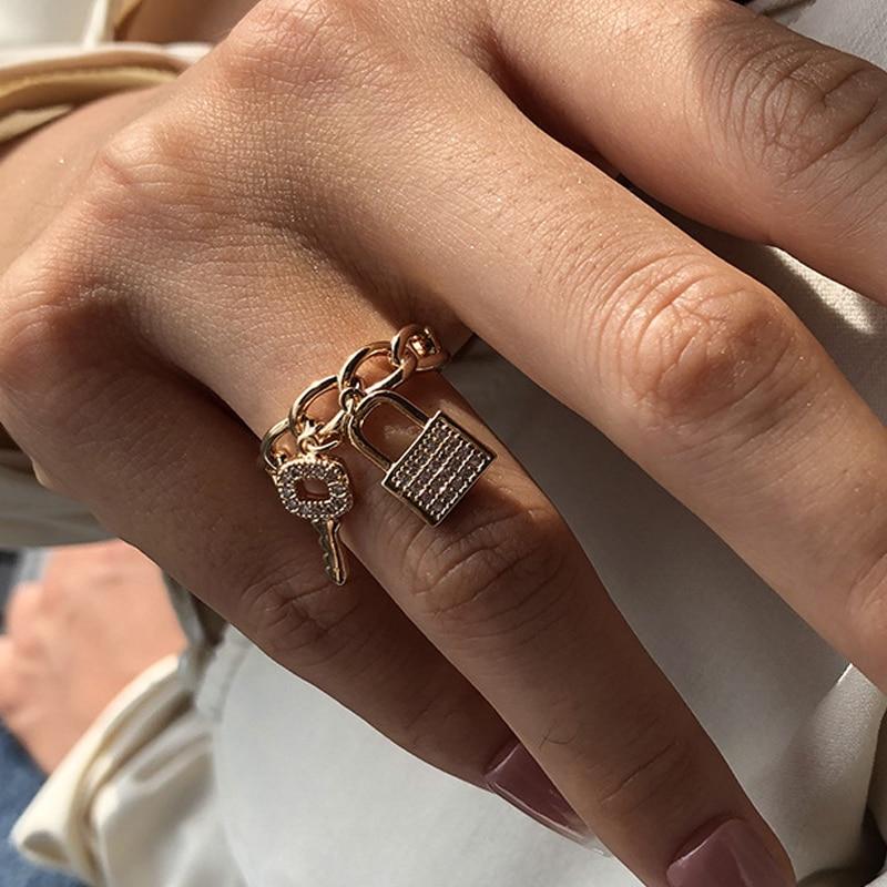Модное кольцо с замком для ключей, кольца из циркона для женщин, Преувеличенные полые, оптовая продажа, вечерние ювелирные изделия, блестяще...