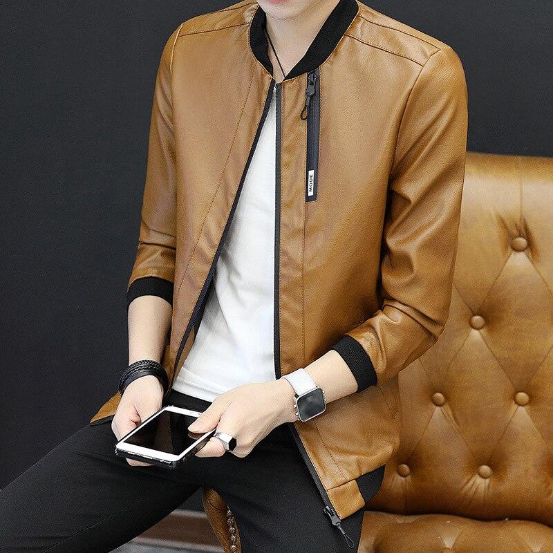 Leather Coat Men's 2018 New Style Men's PU Leather Jacket Casual Men'S Wear Korean-style Trend Locomotive Handsome MEN'S Coat