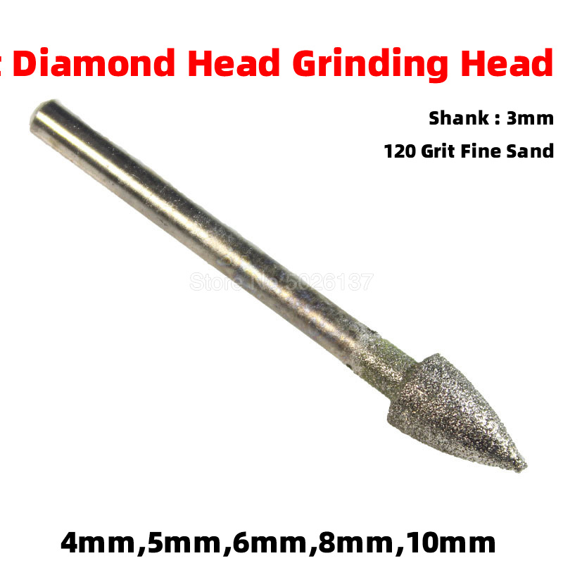 1Pcs 120Grit Fine Sand Electroplating Diamond Grinding Head Shank Polished Needle Jade Stone Carving Engraving Heads Drill Bit