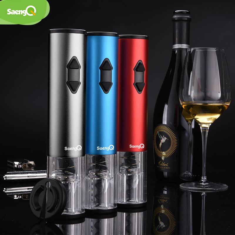 SaengQ Automatic Bottle Opener Corkscrew Professional Red Wine Opener Foil Cutter Dry Battery Electric Wine Opener Kitchen  Tool
